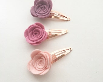 Large Felt Flower Snap Clip Trio - Spring Flower Snap Clip Set - Fringe Clip Set - Girls hair clips -