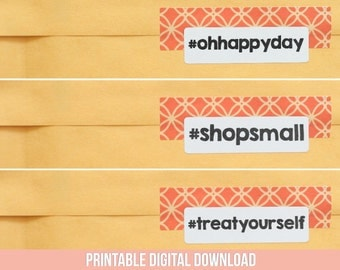 Printable Stickers - Handmade Hashtag Stickers - Social Media Stickers - Instagram Sticker - Happy Mail - Pretty Packaging - 10 Designs
