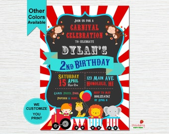 Carnival Themed Birthday Invitation, Circus Birthday Invitation, Carnival Birthday Invitation, Digital Printable