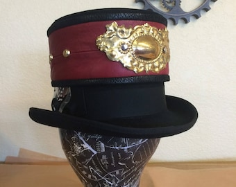 Steampunk Red Leather Top Hat Band