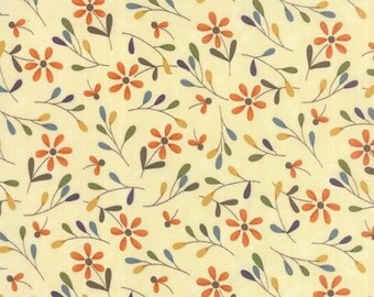 """BTHY - Perfectly Seasoned by Sandy Gervais for Moda, #17822-11, Tossed Flowers Bark, 7/8"""" Orange, Yellow, Teal, Green flowers on Brown"""