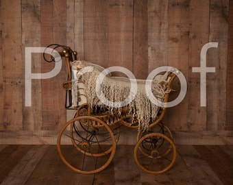 antique baby carriage digital backdrop