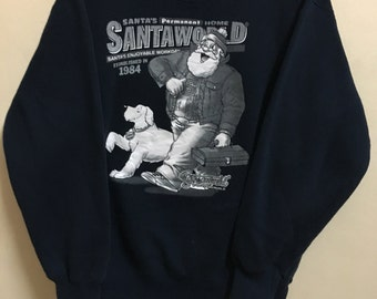 Vintage 90's Santa World Design Skate Sweat Shirt Sweater Varsity Jacket Size L #A745