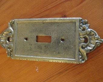 Vintage Ornate French Style Solid Brass Single Toggle Switch Plate
