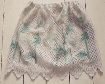 White lace boho sunflower crochet skirt recycled eco fashion