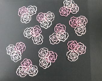 30 Paper Die Cut Roses  1 1/2 inch Pink roses scrapbooking Paper Crafting embellishments Baby shower Die cuts wedding confetti Teacher craft