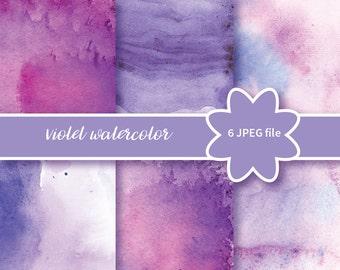 Violet purple  Watercolor Digital Graphic | Watercolor texture. Violet  and purple Clipart | Watercolor Graphics / Watercolor Clipart Set