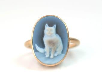 Ring 750 Gold mit Onyxgemme Katze Unikat Design Schmuck hand made in Germany