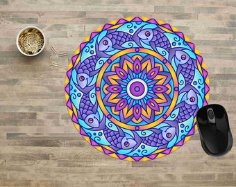Mandala Mouse Pad,Fish Mandala Mouse Pad, Fish Mouse Pad, Computer Mouse Pads,  Mouse pad, Cute Mouse Pads, Mouse Pad