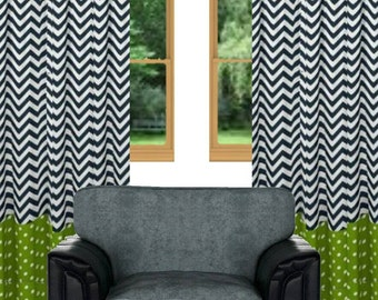 Black and white chevron curtains – Etsy