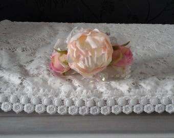 wedding corsage wrist corsage pink peony corsage silk corsage pink wrist corsage rose  brides corsage bridesmaids corsage prom corsage