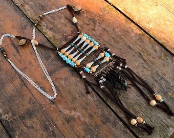 "Tribal/ethnic necklace in Chrysocolla, ""Telsamân"""