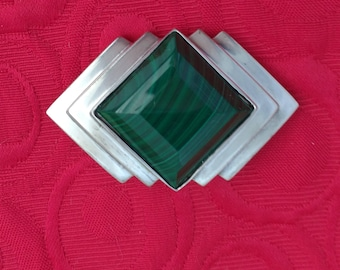 Silver Malachite Geometric Brooch Modernist