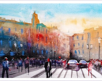 Fine Art Print of Riga Latvia Watercolour Painting Signed Cityscape Town Scene Urban Giclee High Quality Vibrant Impressionist Landscape