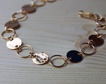 Gold Hammered Bracelet, Gold Circle Link Bracelet, Disc and Circle Bracelet, Gold Chain Link Bracelet, Eternity Bracelet, Forever Bracelet