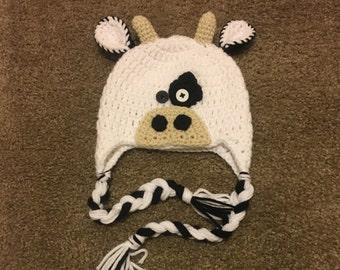 Crochet Cow Hat - Winter Hat - Cow Earflap Hat - Beanie