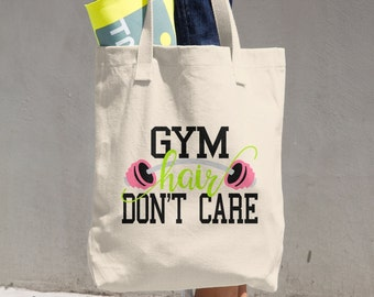 Gym Hair Dont Care Workout Tote Canvas Denim