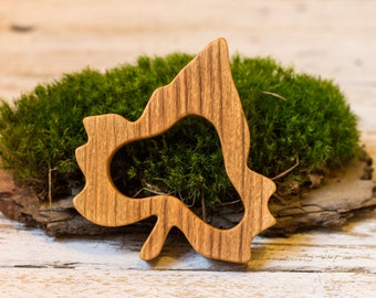Wooden Teether Ivy Leaf Toy | Natural Beech Wood Baby Shower Gift  | Organic Newborn Teether | Grasping Stroller Toy | Eco-friendly Baby Toy