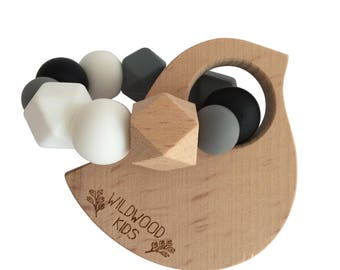 Bird Teething ring with charcoal mix