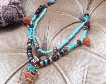 "Beaded ""Vinca"" tribal necklace, turqoise gemstone necklace, tribal necklace, ethnic necklace, turqoise and agate mulitistrand necklace, OOAK"