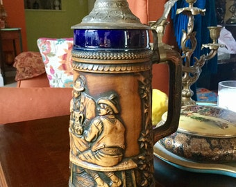 Vintage Large German Beer Stein by Gerz Lidded