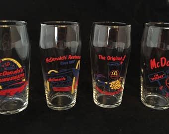 Vintage RARE McDonald's Glasses Set of Four