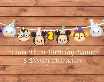 Tsum Tsum Birthday Banner. Tsum Tsum Birthday. Tsum Tsum Party. Party Supplies. Baby Shower. DIGITAL FILES.