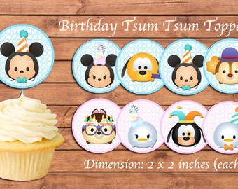 Tsum Tsum Cupcake Toppers. Tsum Tsum Birthday Party. Party Supplies. Baby Shower. DIGITAL FILE