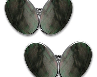 Black Mother of Pearl Sterling Silver Double Oval Cufflinks