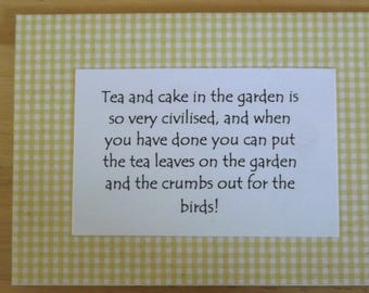 Tea and Cake and Gingham. Lovely artisan,homemade blank greetings card