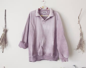 Oversized Distressed Pastel Mauve Sweatshirt