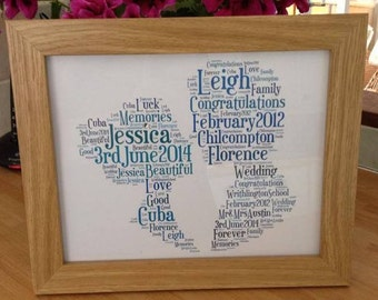 A4 Personalised Word Art Wedding or Anniversary Couple Heads Print (UK ONLY)/Download