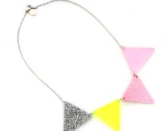 Bunting, necklace, jewelry, geometric necklace, triangle necklace, triangle jewelry, pink, neon yellow, pennant necklace, flag necklace