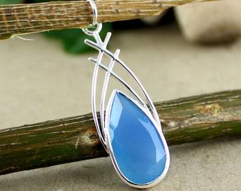 Blue Chalcedony Pendant, Gemstone Pendant, 925 Silver Pendant, Designer Pendant, Handmade Pendant, Wedding Pendant, Girls Pendant,