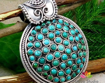 Turquoise Gemstone Pendant, 925 Sterling Silver Pendant, Handmade Pendant, Designer Pendant, Necklace Pendant, Womens Pendant Jewelry