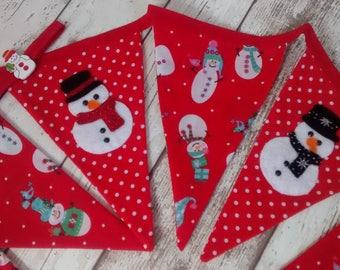 Christmas Snowman Bunting, Christmas bunting, festive bunting, christmas garland, christmas decor, bunting flags, handsewn felt snowmen.