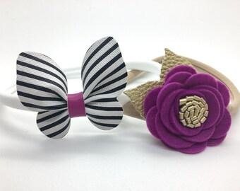 Baby Headband, Newborn Headband Set, Butterfly Headband, Felt Flower Headband, Dainty Headband.