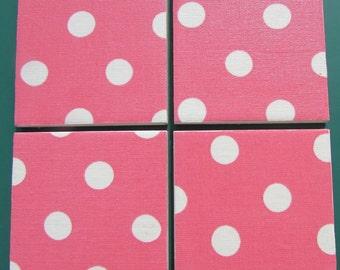 CATH KIDSTON Shabby Chic - Set of Ceramic Coasters - Pink Spot - Fabric - Handmade
