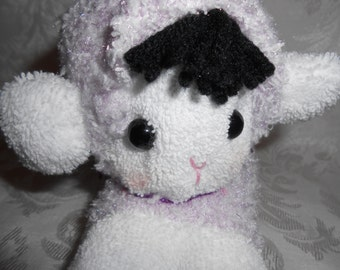Lilac and White Sock Doll Lamb