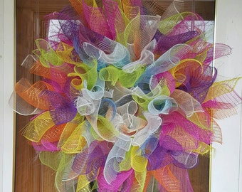 Colorful Spring Easter Deco Mesh Wreath
