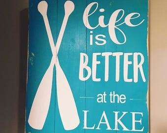 Lake Life Wood Sign, Lake House Sign, Hand Painted Lake House Sign,