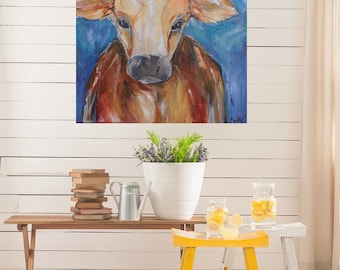 Barnyard Cow - Original Abstract Giclee Art Print