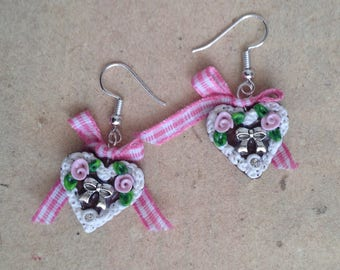 Heart earrings, Gingerbread heart pink, checkered with ribbon, Oktoberfest, bavarian style