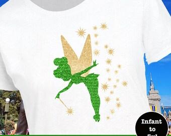 Tinkerbell Tank, Disney Fairy Tank, Tinkerbell Shirt, Tinkerbell Fairy Dust Shirt, Tink Shirt, Tink Tank, Tink Silhouette Shirt