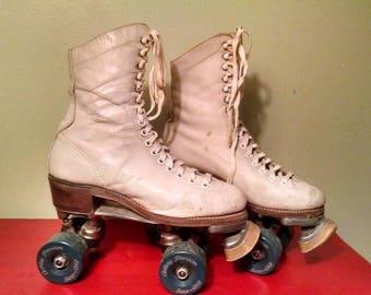 Vintage White Leather Boot Roller Skates