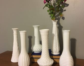 Set of 6 Milk Glass Vases