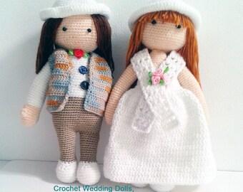 Crochet Wedding Dolls , * Size : 16 cm. x 29 cm., crochet amigurumi, crochet wedding gift