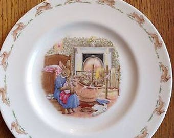 Vintage Royal Doulton Bunnykins Family Bath Time Plate