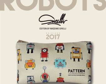 Pouch pocket travellovebag love robot by Massimo Sajid-ivory