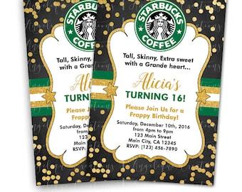 Starbucks, latte, Birthday Invitations & Blank Digital Thank You Card to match